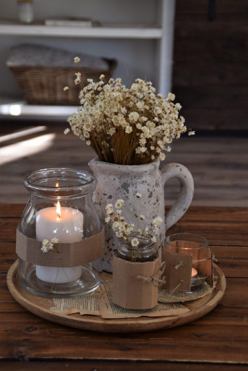 DIY Kartonmanschette für Eure Vasen/Windlichter